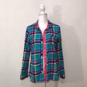 Eddie Bauer Flannel Plaid Turquoise Pink Top Large